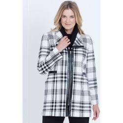 Liz Jordan Long Sleeve Check Pu Trim Zip Coat - Vanilla Ice - 10 found on Bargain Bro from Noni B Limited for USD $58.71