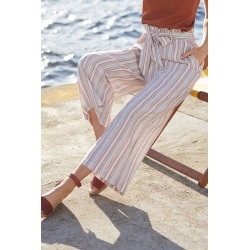 Capture Linen Blend Stripe Crop Pant - L found on Bargain Bro from Katies for USD $13.02