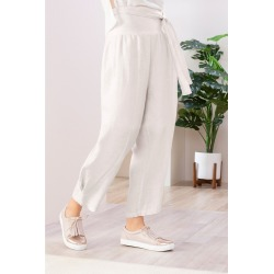 Grace Hill Cuff Detail Linen Pants - Natural - 12 found on Bargain Bro Philippines from crossroads for $18.40