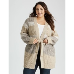 Beme Color Block Tie Cardigan - Natural Multi - XL found on Bargain Bro from crossroads for USD $22.86