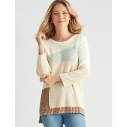 Rockmans 3/4 Sleeve Colour Block Knit - Mint Mix - M found on Bargain Bro from Noni B Limited for USD $19.89