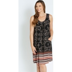 Rivers Sleeveless Pocket Dress - Black Floral Border - 12 found on Bargain Bro from Rockmans for USD $16.90