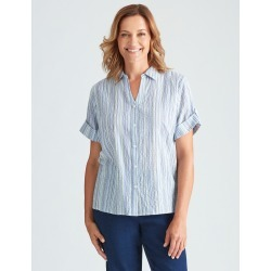 Millers Classic Stripped Elbow Sleeve Shirt - Blue Stripe - 12 found on Bargain Bro from crossroads for USD $11.92