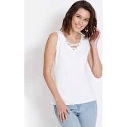 Rockmans Sleeveless v Neck Tank - White - S found on Bargain Bro India from Rockmans for $5.68