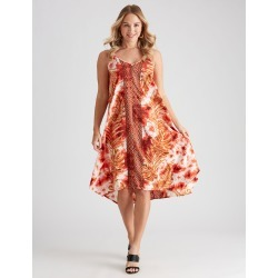 Crossroads Tie Shoulder Block Cut Maxi Dress - Tie Dye Palm Print - 14 found on Bargain Bro Philippines from BE ME for $33.20