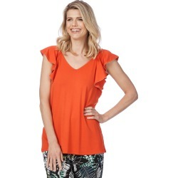 Rockmans Sleeveless Frill Neck Top - Orange - XS found on Bargain Bro Philippines from Rockmans for $8.85