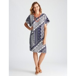 Millers Cap Sleeve Ruffle Shift - Navy Paisley - 10 found on Bargain Bro from Katies for USD $11.83