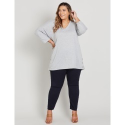 Beme 3/4 Sleeve Hardware Trim Pretend Knit Top - Lt Grey Marle found on Bargain Bro India from crossroads for $26.97