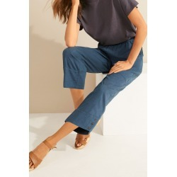 Capture Linen Blend Button Cuff Crop - Dark Teal - 8 found on Bargain Bro from Katies for USD $23.08