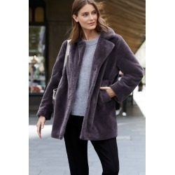 Emerge Faux Fur Coat - Charcoal - 14 found on Bargain Bro from crossroads for USD $41.61