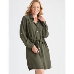 Rivers Long Sleeve Lyocell Midi Dress - Dark Khaki - 18 found on Bargain Bro India from W Lane for $32.50