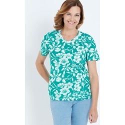 Millers Short Sleeve Printed T-shirt With Crochet Neck Insert - Green Floral - 10 found on Bargain Bro India from Rockmans for $7.62