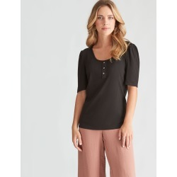 Rockmans Elbow Sleeve Rib Top - Black - XXL found on Bargain Bro from Noni B Limited for USD $10.23