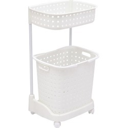 2 Tier Bathroom Laundry Clothes Basket Hamper - White - One found on Bargain Bro Philippines from crossroads for $33.00