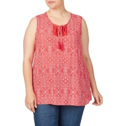 Beme Sleeveless Knotted Yoke Print Top - Red/ White Print - Red/ White Print - 14 found on Bargain Bro Philippines from BE ME for $11.07