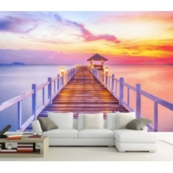 Aj Wallpaper 3d Sunset Wooden Bridge 1066 Wall Murals Removable Wallpaper Woven Paper - Multi - XL found on Bargain Bro from Rockmans for USD $253.30