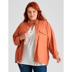 Beme Long Sleeve Cropped Soft Utility Jacket - Terracota - 14 found on Bargain Bro Philippines from crossroads for $30.65