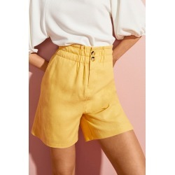 Emerge Linen Blend button Short - Yellow - 14 found on Bargain Bro Philippines from W Lane for $36.01