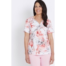Millers Short Sleeve Printed Notch Neck Shirt - Pink Sketch Floral found on Bargain Bro Philippines from crossroads for $7.17