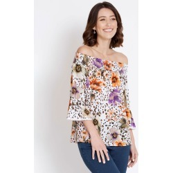 Rockmans Long Sleeve Off Shoulder Leopard Top - Multi - 24 found on Bargain Bro India from Rockmans for $7.24