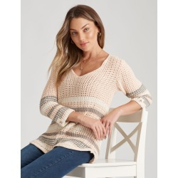 Rockmans 3/4 Sleeve Crochet Stripe Jumper - Stripe Multi - XL found on Bargain Bro India from Noni B Limited for $14.48