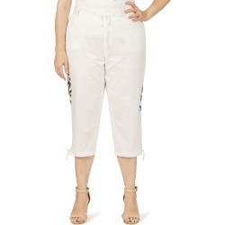 Beme Pull On 3/4 Length Embroidered Poplin Pant - White - 16 found on Bargain Bro from Rockmans for USD $12.02