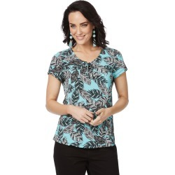 Rockmans Cap Sleeve Blue Leaf Print Top - Multi - M found on Bargain Bro from BE ME for USD $5.86