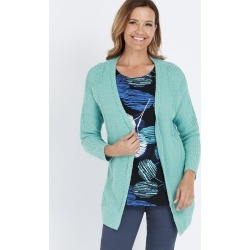 Millers Long Sleeve Slub Stitch Cardigan - Sea Foam - S found on Bargain Bro India from Rockmans for $7.39