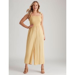 Crossroads Shirred Tie Strap Jumpsuit - Mustard - 8 found on Bargain Bro from W Lane for USD $10.23