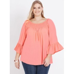 Beme 3/4 Frill Sleeve Shirred Top - Coral - 14 found on Bargain Bro India from BE ME for $11.57