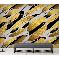 Aj Wallpaper 3d Golden Leaf 1074 Wall Murals Removable Wallpaper Self-adhesive Vinyl - Multi - XXXL found on Bargain Bro from Rockmans for USD $288.65