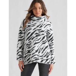 Rockmans Long Sleeve Fuzzy Cowl Knit - Zebra - L found on Bargain Bro from Noni B Limited for USD $10.80