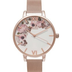Olivia Burton Signature Florals Rose Gold Mesh Watch