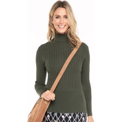 Capture Roll Neck Long Sleeve Ribbed Knit Top - Khaki - XL found on Bargain Bro from Katies for USD $14.80