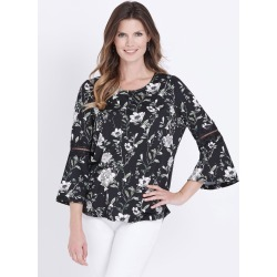 W.lane Floral Lace Trim Top - Black - XL found on Bargain Bro from BE ME for USD $19.72