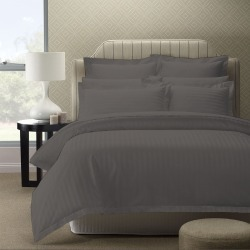 Royal Comfort 1200 Thread Count Damask Stripe Quilt Cover Set - Charcoal Grey found on Bargain Bro India from crossroads for $50.93