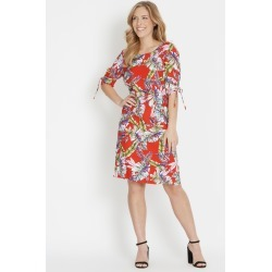 Rockmans Elbow Sleeve Ruched Tropical Dress - Fire Red Multi - 20 found on Bargain Bro India from W Lane for $15.55