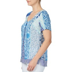 Rockmans Shortsleeve Blues Print Bobble Trim Tee - Multi - 8 found on Bargain Bro India from Katies for $7.77