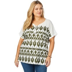 Beme Cap Sleeve Tie Neck Print Top - Khaki Print - XS found on Bargain Bro India from BE ME for $15.43
