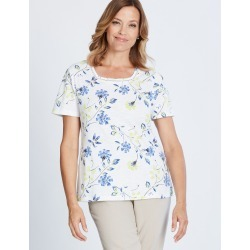 Millers Short Sleeve Printed T-shirt With Crochet Neck Insert - Multi Floral - 10 found on Bargain Bro India from Rockmans for $7.62