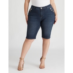Beme Knee Length Denim Button Short - Dark Wash - 14 found on Bargain Bro India from crossroads for $21.60