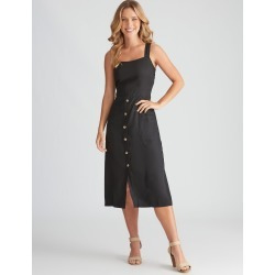 Rockmans Sleeveless Linen Button Through Dress - Black - 18 found on Bargain Bro Philippines from crossroads for $14.14