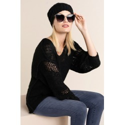 Emerge Crochet Sleeve V Neck Sweater - Black - S found on Bargain Bro India from BE ME for $38.12