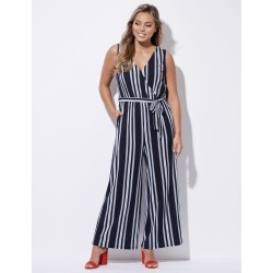 Crossroads Crossover Bodice Jumpsuit - Navy/white Stripe - Navy/white Stripe - 8 found on Bargain Bro from W Lane for USD $22.73