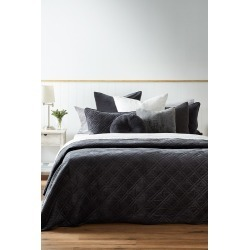 Windsor Quilted Velvet Bedcover - Soft Black - L found on Bargain Bro from Noni B Limited for USD $98.04