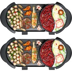Soga 2 In 1 Electric Non-stick Grill & Dual Hotpot 2pack - Black found on Bargain Bro India from crossroads for $188.24