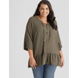 Beme Lace Up Frill Hem Shirt - Khaki - XL found on Bargain Bro India from Rockmans for $43.54