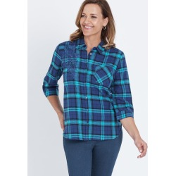 3/4 Sleeve Drag Up Embroidered Piece Check Shirt - Ink Turq Check - 10 found on Bargain Bro India from Rockmans for $12.31