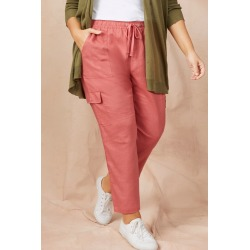 Sara Cargo Pocket Linen Pant - Terracotta - 14 found on Bargain Bro from Noni B Limited for USD $40.51