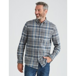 Rivers Long Sleeve Cotton Flannel Check Shirt - Grey Melange / Blue Check - Grey Melange / Blue Check - M found on Bargain Bro from Rockmans for USD $16.94